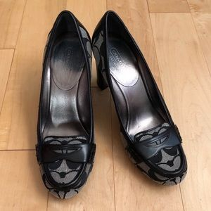 Coach Paulina Black & Gray Loafer High Heels, 7.5